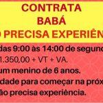 CONTRATA-SE BABÁ DAS 9:00 HRS AS 14 HRS